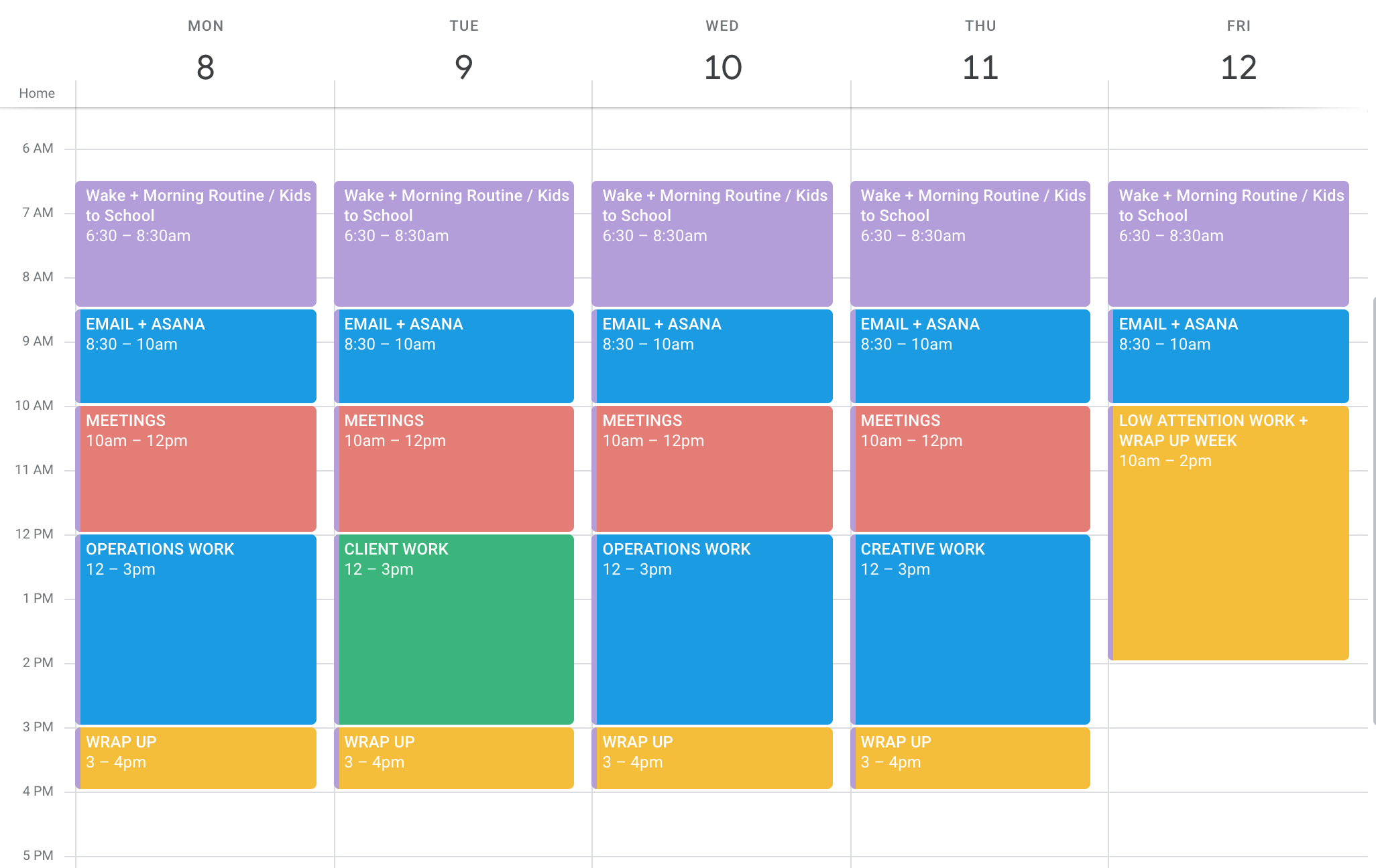 Protecting Time Calendar for an Ideal Work Week