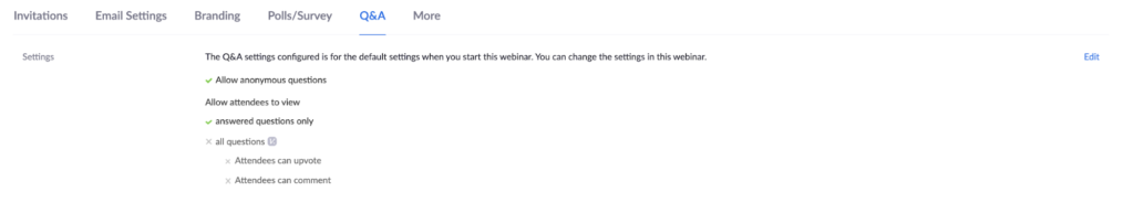 Screenshot of Zoom webinars Q&A settings